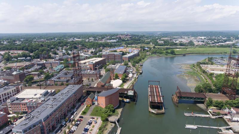 An aerial view of the Walk Bridge in Norwalk, Connecticut taken in June 2017.