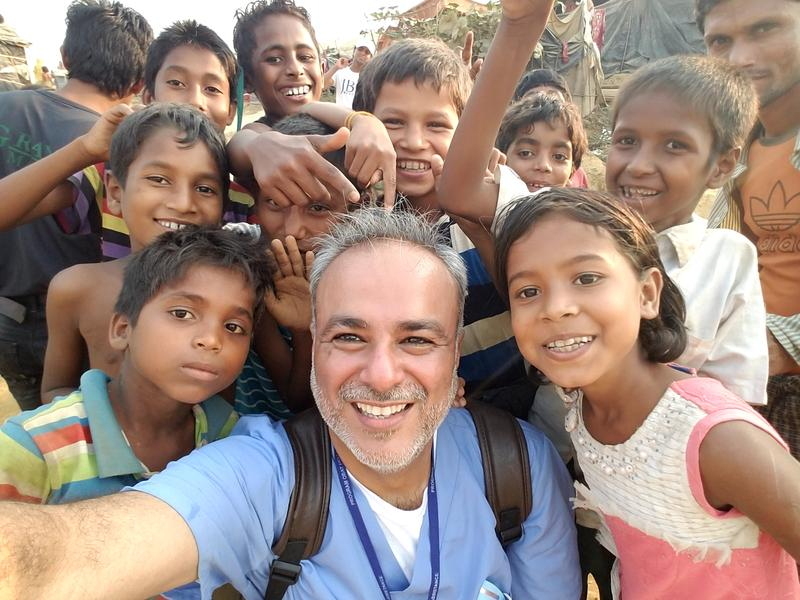 Dr. Anwar Saud with Rohingya friends at Kutupalong refugee camp in Bangladesh
