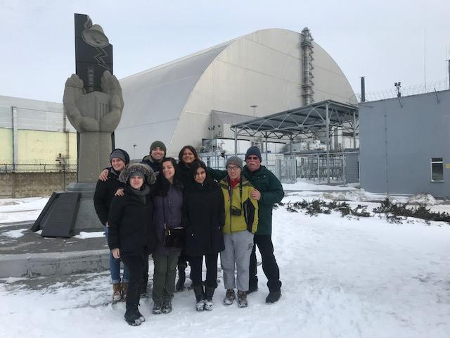 Wesleyan students visiting the site of the Chernobyl disaster