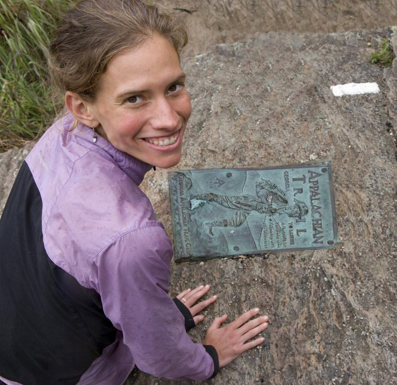 Jennifer Pharr Davis at the site of a plaque on the Appalachian Trail.