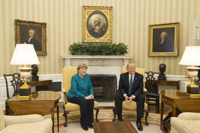 German Chancellor Angela Merkel first visited President Trump in the White House on March, 17, 2017.
