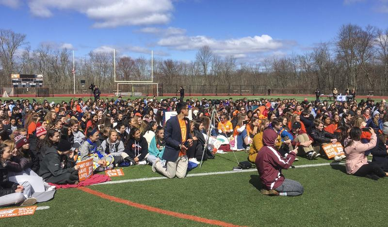 Hundreds of students gathered on the football field of Ridgefield High School as part of the National School Walkout on April 20, 2018. Students at Ridgefield organized the walkout's nationwide.