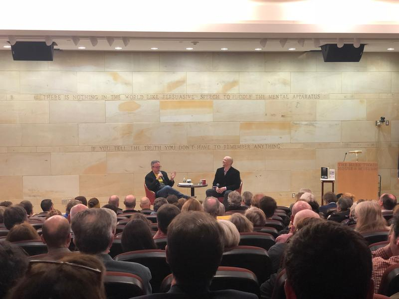 Colin with Matt Taibbi on stage at the Mark Twain House & Museum on April 12, 2018.