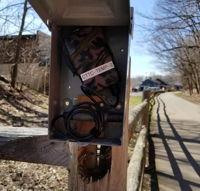 The guts of an infrared (IR) sensor box. This one is on the Farmington Canal Heritage Trail in Hamden. In 2017, IR sensors at 15 sites recorded more than 1 million uses of Connecticut trails.