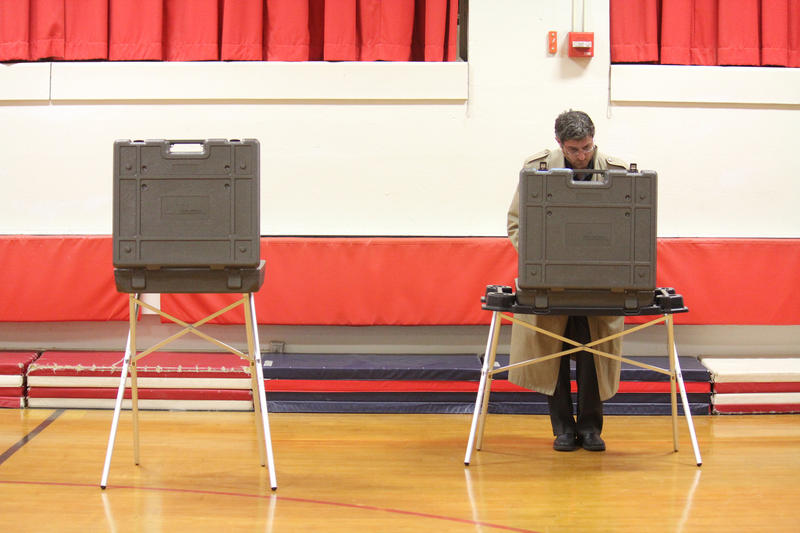 A voter at Chapman School in Cheshire, the hometown of current Rep. Elizabeth Esty.