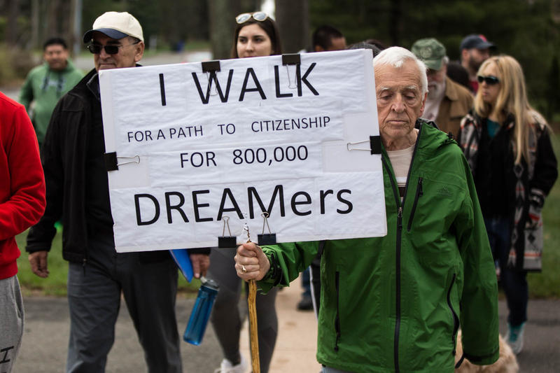Alan Dornan, 78, has carried a sign during his walk since the fifth day of a protest that started in January.