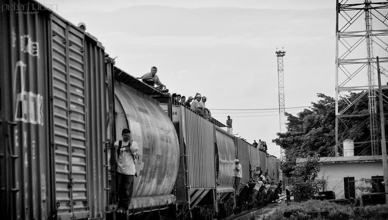 Central American migrants on a train in southern Mexico