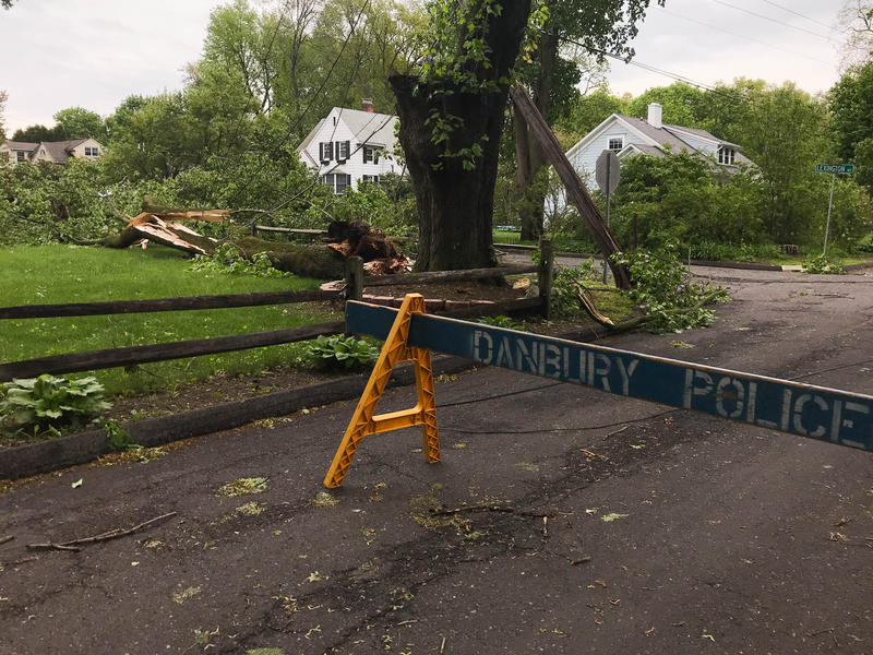 The part of the street where Ridge Road meets Lexington  Avenue in Danbury is closed after a telephone pole snapped and took down power lines Tuesday.