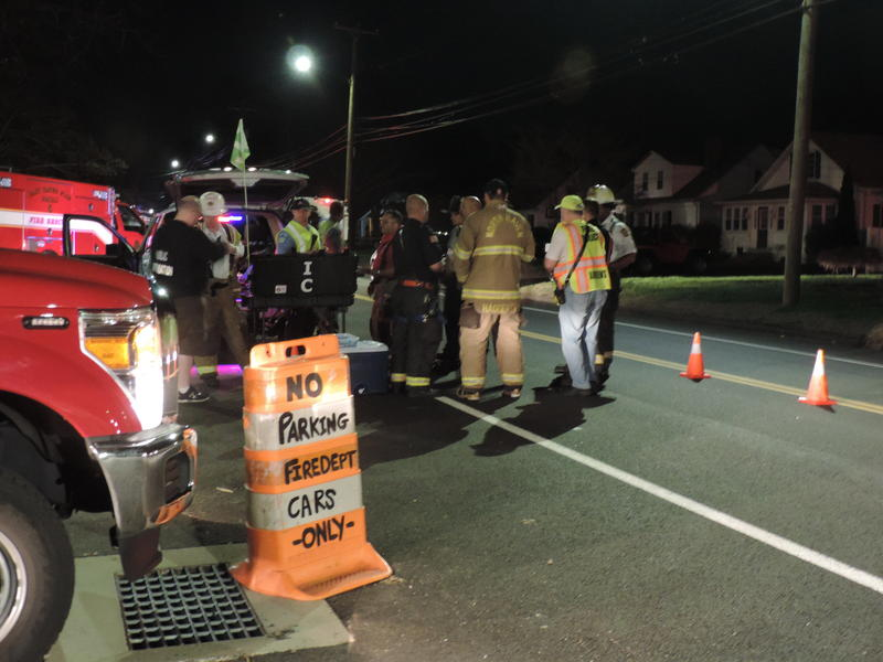 Emergency responders at the scene of Wednesday night's explosion