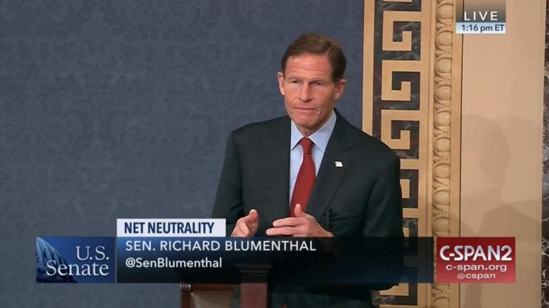 Senator Richard Blumenthal speaks in favor of net neutrality on the Senate floor.