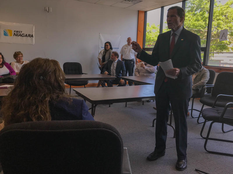 Sen. Richard Blumenthal appeared at the Spanish American Merchants Association building in New Haven Wednesday to discuss the federal government's involvement in Puerto Rico in the wake of Hurricane Maria.