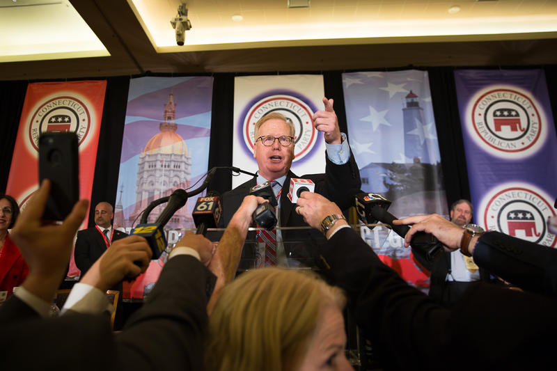 Danbury Mayor Mark Boughton delivers his victory speech after winning the gubernatorial endorsement at the Connecticut Republican convention on May 12, 2018.