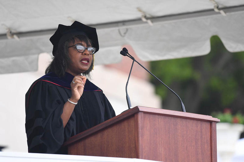 Anita Hill speaks during Wesleyan University's 186th commencement ceremony on May 27.