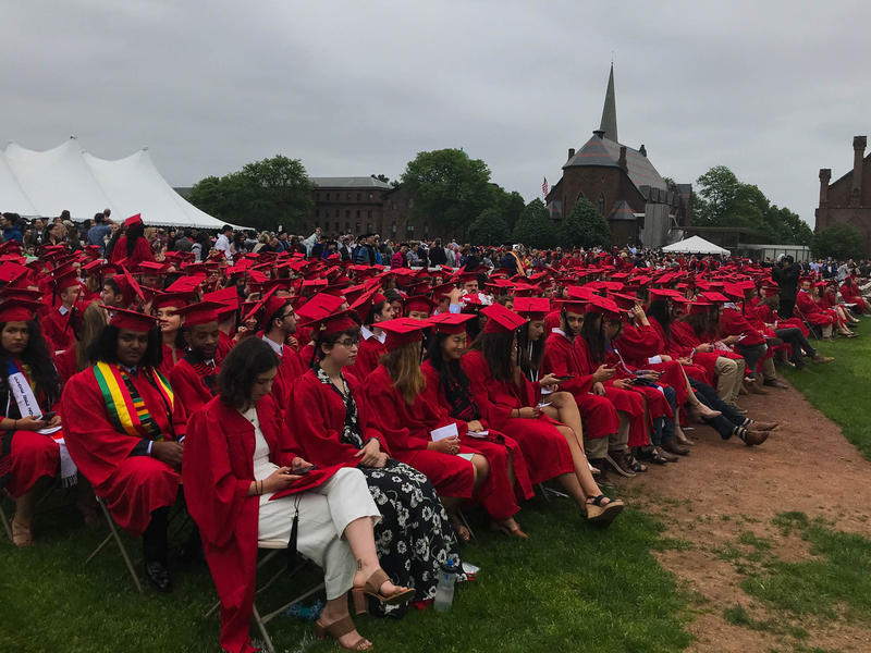 872 graduates gathered for the commencement on Wesleyan University's baseball field.