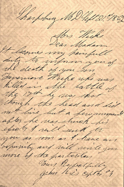 Letter to Rachel Weeks from Captain  John Kies, 1862.