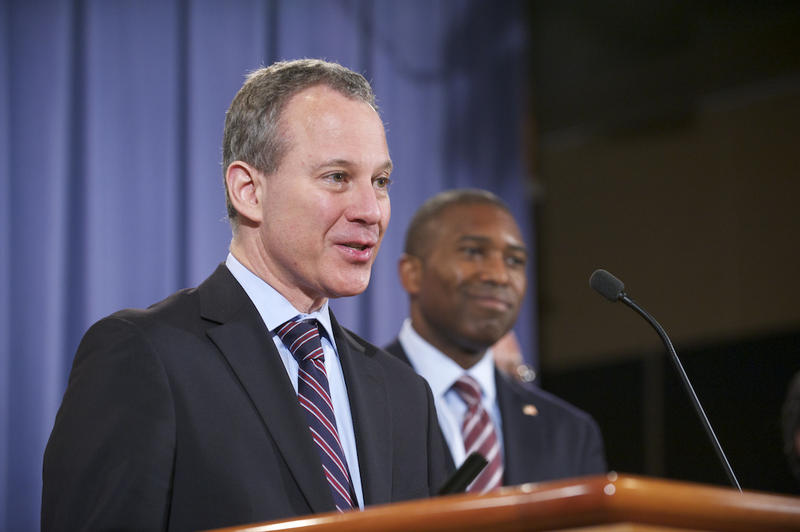 Eric Schneiderman (left) took the lead on environmental and civil rights issues that Connecticut's attorney general supported.