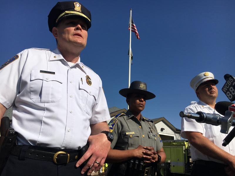 North Haven Deputy Police Chief Jonathan Mulhern, Trooper Kelly Grant, Fire Chief Paul Januszewski (left to right) speak to reporters Thursday.