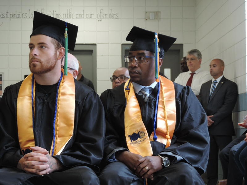 Kyle Jolly and Robert Pratt, recently released from prison, joined six current inmates to receive their manufacturing certificates at the Cybulski Community Reintegration Center.