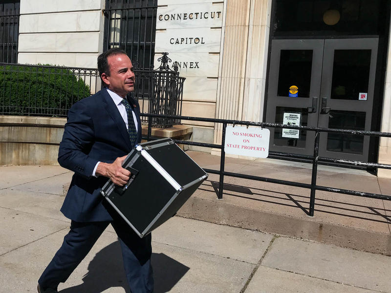Bridgeport Mayor Joe Ganim appeared in Hartford on June 12 -- the deadline to collect signatures for petitioning onto the statewide primary ballot. He carried each signature of support he received on his way to speaking with reporters.