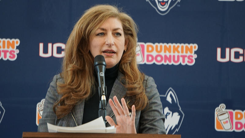 University of Connecticut Susan Herbst pictured during Dan Hurley's introductory news conference in March. Kevin Ollie was fired. And then shortly after, Hurley was named his replacement.