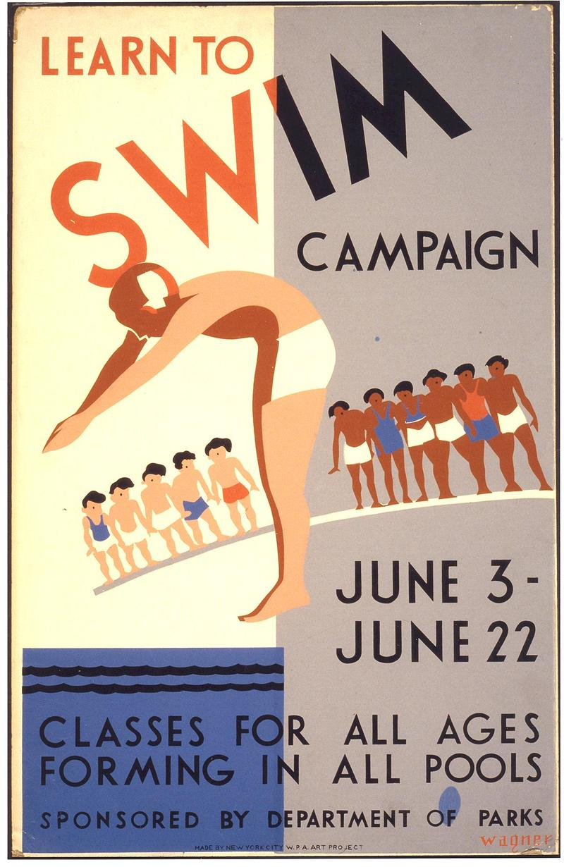 "A vintage poster of a ""Learn to Swim"" campaign from New York City (circa 1930s-1940s)"
