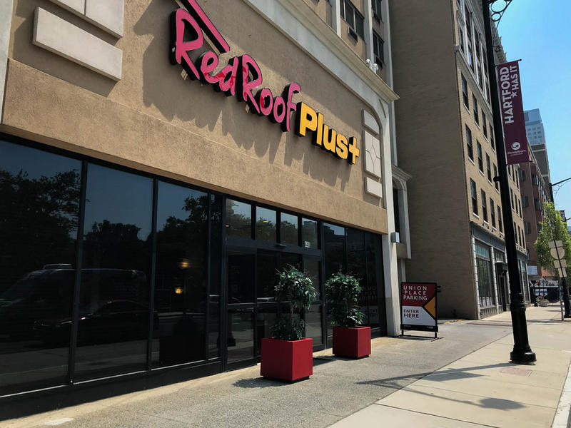 Two of Connecticut's 21 evacuee families enrolled in the Federal Emergency Management Agency's Transitional Shelter Assistance program live at the Red Roof Inn Plus in downtown Hartford. At the height of the program, nearly 40 families were placed here.