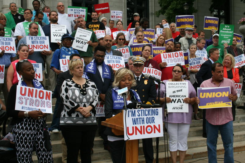 Union members rally in Hartford in the wake of the Janus decision