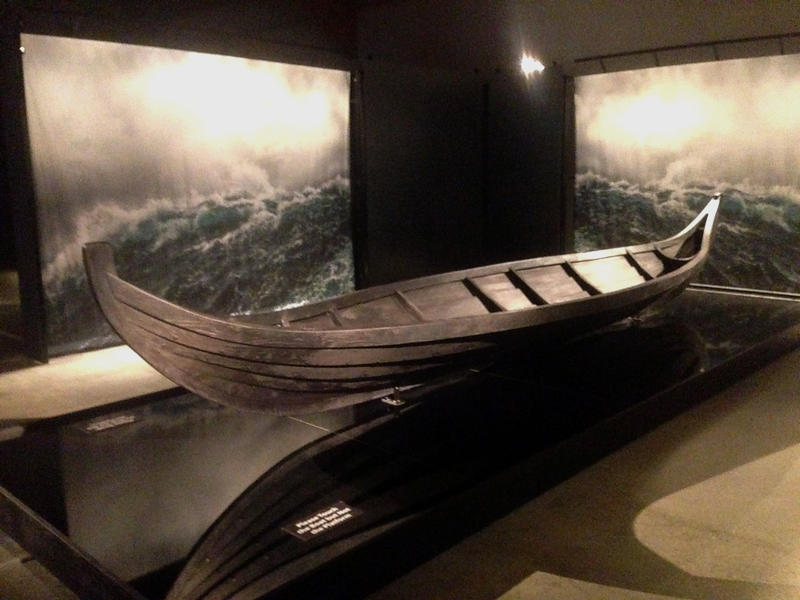 A replica of a Viking funerary boat on display at Mystic Seaport Museum