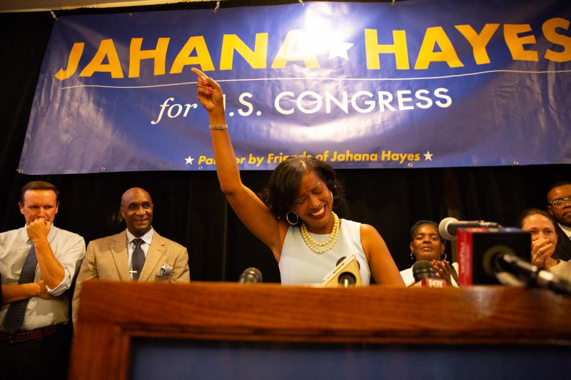 Jahana Hayes declares victory in the Democratic primary for the 5th Congressional District.