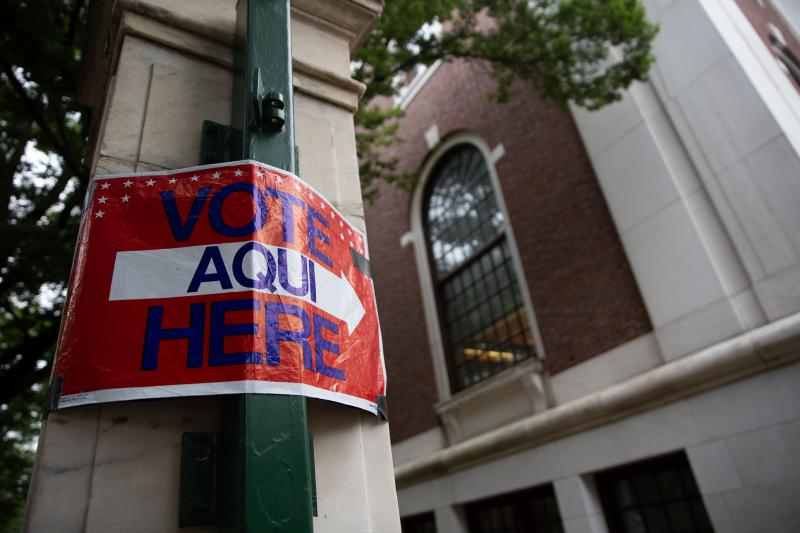 Outside a polling place at the New Haven Free Public Library. Polls will be open to registered Republican and Democratic voters from 6 a.m. to 8 p.m. on August 14.
