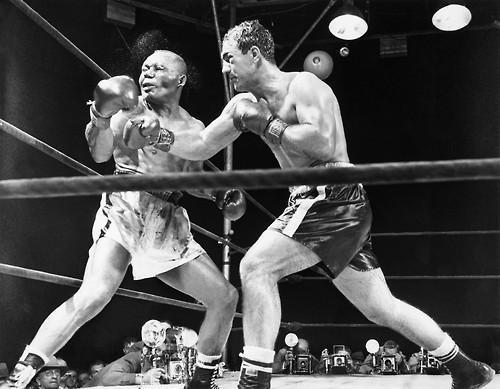 Rocky Marciano fights Jersey Joe Walcott in 1952.