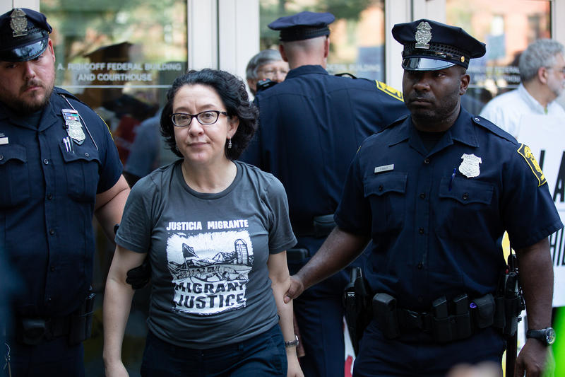 Last month, 35 people were arrested outside the Hartford Immigration Court. They were protesting Immigrations and Customs Enforcement and policies of the Trump adminstration.