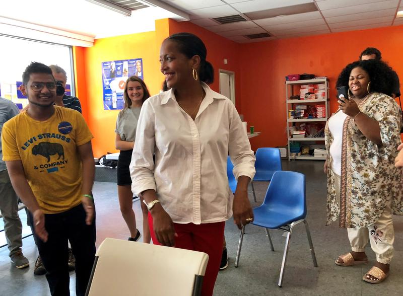 """Jahana Hayes, former National Teacher of the Year, thanks young volunteers at her campaign headquarters in Waterbury, Conn. Hayes visited with """"Students For Hayes"""" the day after her Democratic primary win in the 5th Congressional district race."""