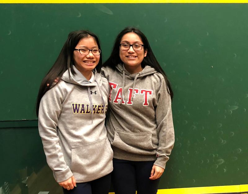 Hartford teens Ku Paw, left, and Julissa Mota celebrate after getting accepted to Connecticut boarding schools. Opportunities came after they began playing squash a few years ago through the Capitol Squash program hosted at Trinity College in Hartford.