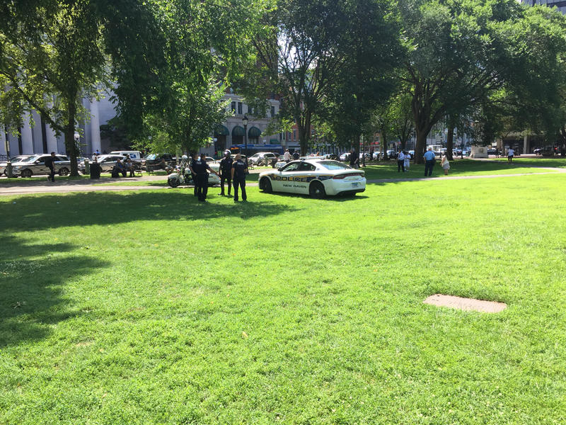 Emergency personnel respond to the overdose crisis on New Haven Green.