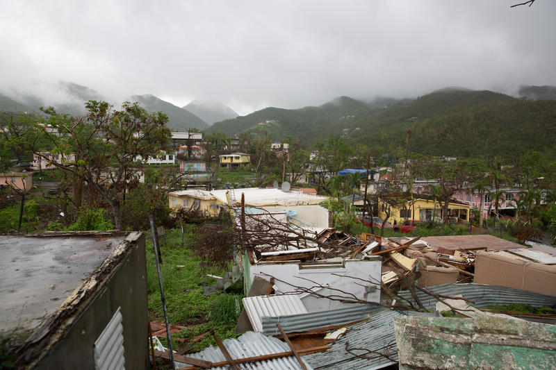 Houses damaged by Hurricane Maria in Salinas, Puerto Rico in October, 2017.