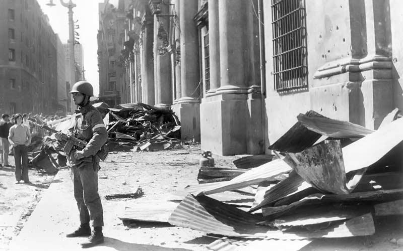 Soldier in front of presidential palace 'La Moneda' in Santiago, Chile in September 1973