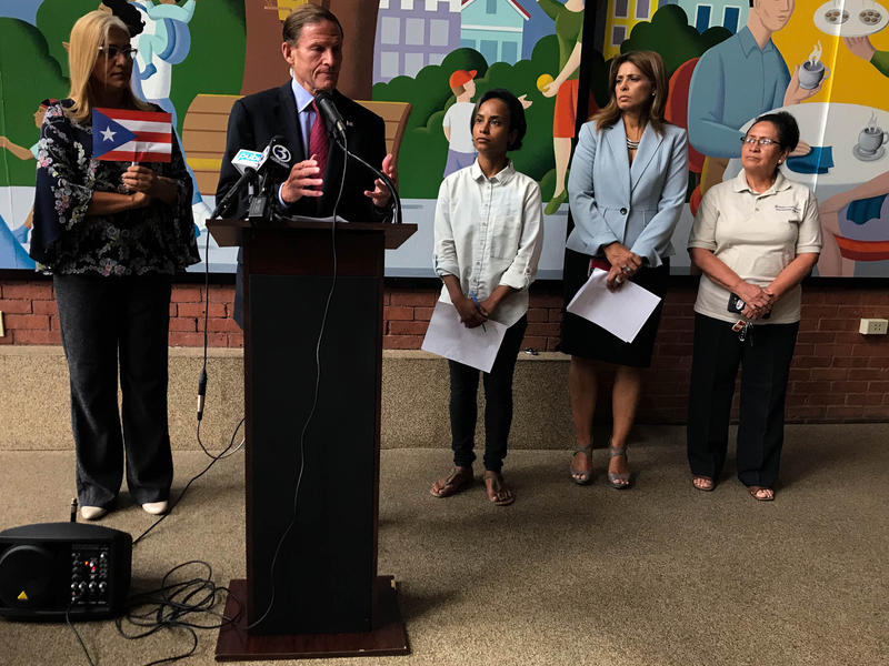 Sen. Richard Blumenthal appeared at the Hispanic Health Council in Hartford on Friday, August 31 to discuss relief to Puerto Rico and the U.S. Virgin Islands.