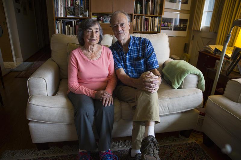 Adriana Falcón Trafford and her husband, Rob Trafford, in their West Hartford home