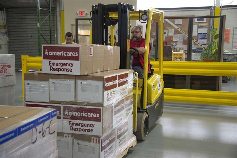 Americares readies supplies at its Stamford warehouse