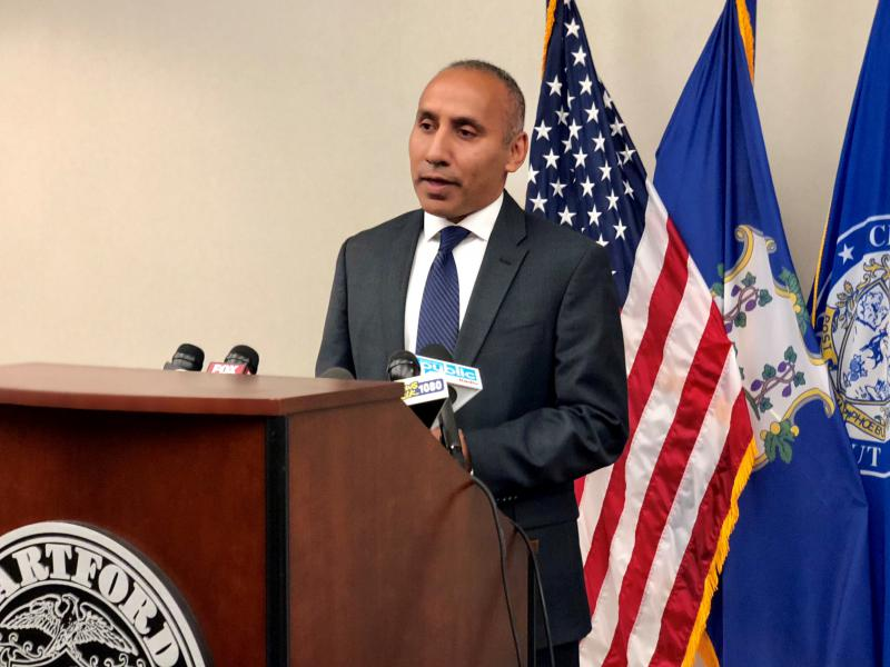 Hartford Police Chief David Rosado talks about the department's response to the Stephen Barone controversy during a press conference Thursday at police headquarters.