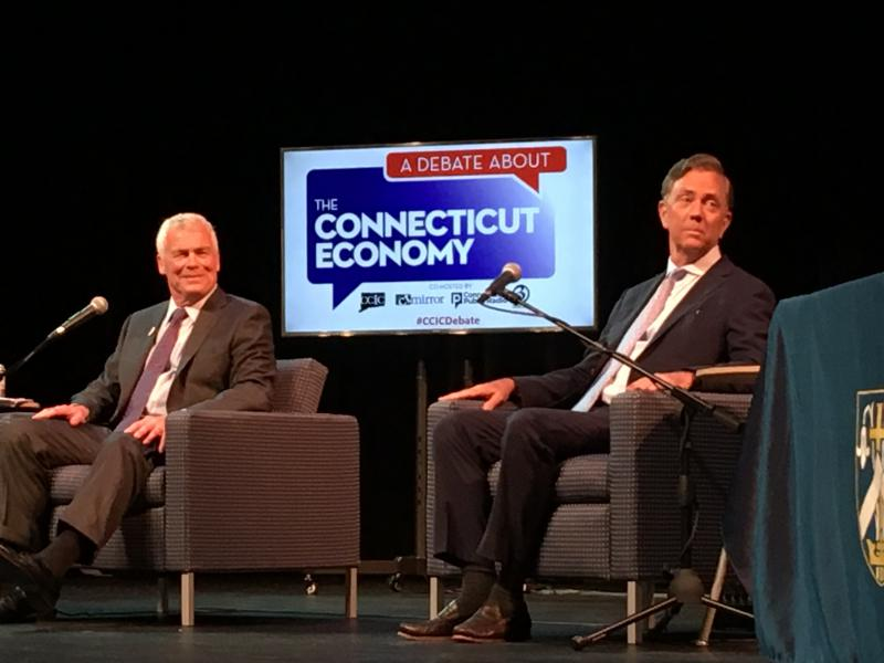 Gubernatorial candidates Oz Griebel (left) and Ned Lamont on stage at the University of St. Joseph's Hoffman Auditorium for Wednesday's debate