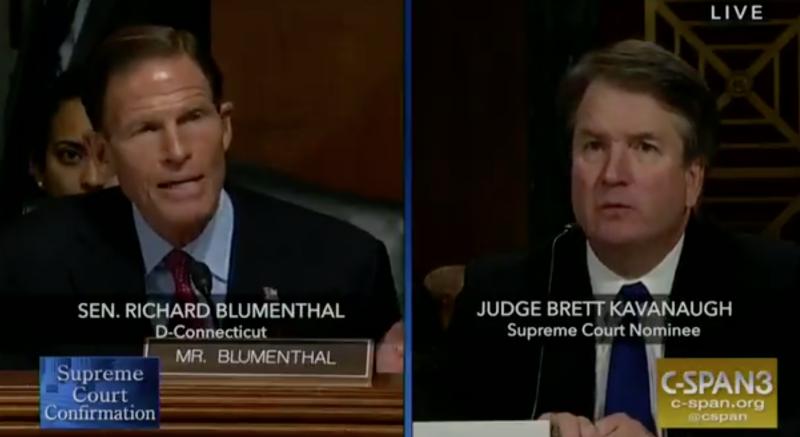 Senator Richard Blumenthal questions Supreme Court nominee Brett Kavanaugh