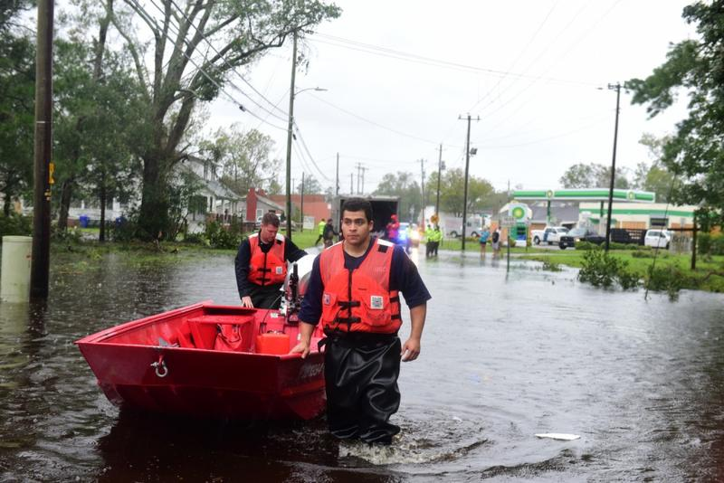 The U.S. Coast Guard working in the aftermath of Hurricane Florence in Newport, North Carolina.