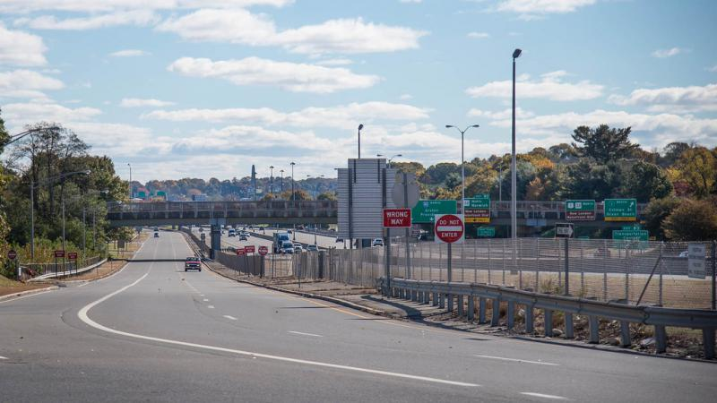 Cars and trucks drive through the New London-Waterford stretch of the Interstate-95 highway on Oct. 30, 2018.