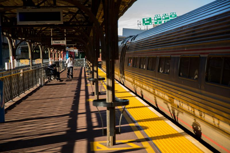The Amtrak 475 train that contains two cars and arrives at 4:32 p.m. in Hartford leaves Union Station on October 5, 2018.