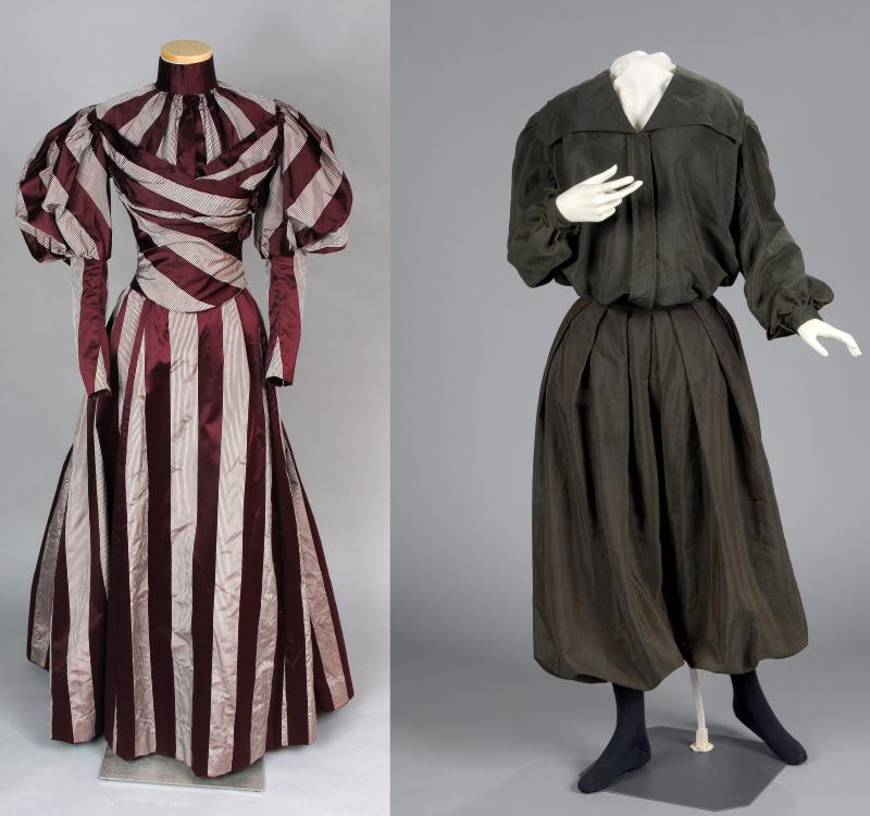 Left-women's day dress, considered proper women's attire for a middle-class elegant woman in the 1890s; Right- Woman's bicycling outfit (c.  1895-1905) Having cuffed bloomers that could be adjusted to the wearer improved safety on  a bicycle.