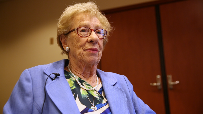 Holocaust survivor Eva Schloss spoke at The Bushnell theater in Hartford Monday, just days after the worst anti-Semitic attack in U.S. history. Schloss is the step-sister of Anne Frank.