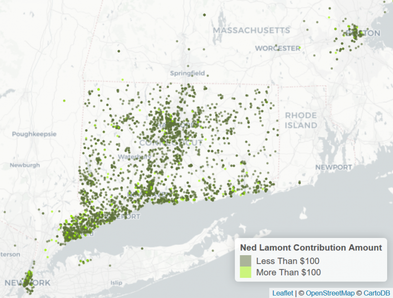 This is a map of contributions to Ned Lamont, which does not include self-donations.