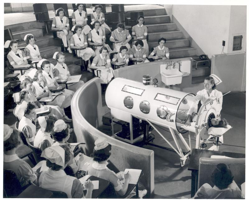 Yale nursing students learn to operate an iron lung respirator (c. 1949)